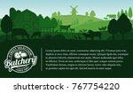 vector butcher shop... | Shutterstock .eps vector #767754220