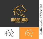 horse wild animal silhouette... | Shutterstock .eps vector #767755168