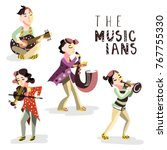 children musicians. kids with... | Shutterstock .eps vector #767755330