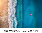 aerial view of young woman... | Shutterstock . vector #767755444