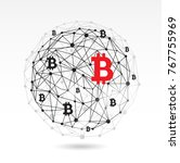 digital bitcoin crypto currency ... | Shutterstock .eps vector #767755969
