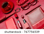 red woman accessories with...   Shutterstock . vector #767756539