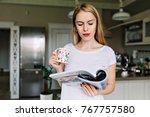 indoor portrait of young... | Shutterstock . vector #767757580