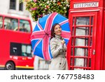 london tourist travel woman... | Shutterstock . vector #767758483