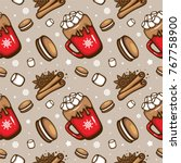 spicy hot chocolate. red cup of ... | Shutterstock .eps vector #767758900