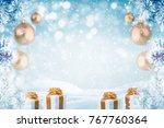 christmas background with...   Shutterstock . vector #767760364