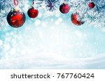 christmas background with red...   Shutterstock . vector #767760424