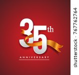35th anniversary logotype with... | Shutterstock .eps vector #767762764