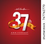 37th anniversary logotype with... | Shutterstock .eps vector #767762770