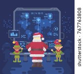 santa claus and his elves at... | Shutterstock .eps vector #767763808