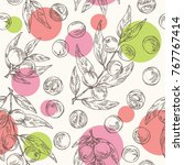 seamless pattern with camu camu ... | Shutterstock .eps vector #767767414