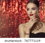 beautiful girl with set jewelry ... | Shutterstock . vector #767771119