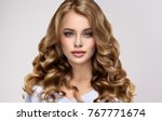 brunette  girl with long  and   ... | Shutterstock . vector #767771674