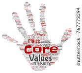 conceptual core values... | Shutterstock . vector #767773294