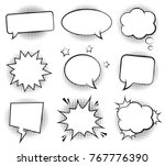 Retro empty comic bubbles and elements set with black halftone shadows. Vector illustration, vintage design, pop art style. | Shutterstock vector #767776390