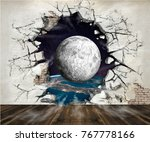hole in the wall  out into...   Shutterstock . vector #767778166