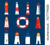 set of lighthouses. vector... | Shutterstock .eps vector #767779000