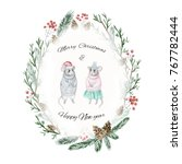 Oval Christmas Card With Two...