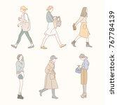 girl characters walking down... | Shutterstock .eps vector #767784139