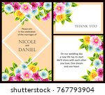 invitation with floral... | Shutterstock .eps vector #767793904