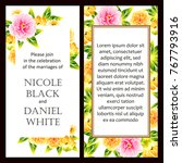 invitation with floral... | Shutterstock .eps vector #767793916