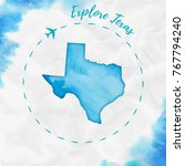 texas watercolor us state map... | Shutterstock .eps vector #767794240
