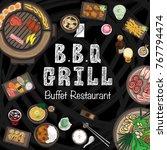 menu barbecue grill restaurant... | Shutterstock .eps vector #767794474