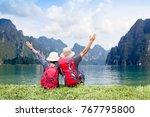 couple backpack travel relaxing ...   Shutterstock . vector #767795800