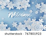paper art of welcome merry... | Shutterstock .eps vector #767801923