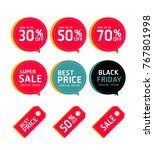 set of sale price tag collection | Shutterstock .eps vector #767801998