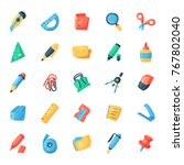 stationery icons office supply... | Shutterstock .eps vector #767802040