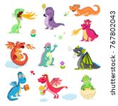 Stock vector dragon cartoon vector cute dragonfly dino character baby dinosaur for kids fairytale dino 767802043