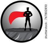 a vector standing superhero... | Shutterstock .eps vector #767802850
