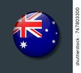 australia flag on 3d button ...