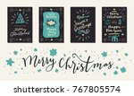 set of vintage merry christmas... | Shutterstock .eps vector #767805574