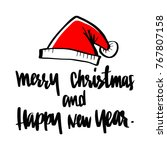 santa hat with merry christmas  ... | Shutterstock .eps vector #767807158