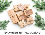 secret santa christmas game.... | Shutterstock . vector #767808649