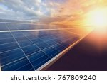 solar panel on sky background | Shutterstock . vector #767809240