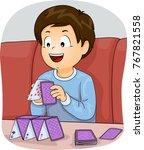 illustration of a kid boy... | Shutterstock .eps vector #767821558