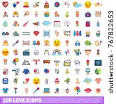 100 love icons set. cartoon... | Shutterstock .eps vector #767822653