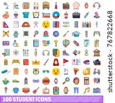 100 student icons set. cartoon... | Shutterstock .eps vector #767822668