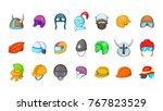 helmet icon set. cartoon set of ... | Shutterstock .eps vector #767823529
