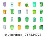 garbage can icon set. cartoon... | Shutterstock .eps vector #767824729
