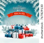 merry christmas background with ... | Shutterstock .eps vector #767829130