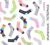 funny socks seamless pattern ... | Shutterstock .eps vector #767829616