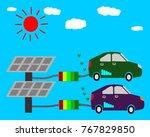 eco car  solar energy concept... | Shutterstock . vector #767829850