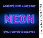 neon tube alphabet font. blue... | Shutterstock .eps vector #767837854