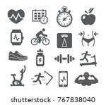 fitness and gym icons set on... | Shutterstock .eps vector #767838040