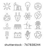energy line icons set on white... | Shutterstock .eps vector #767838244