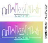 madrid skyline. colorful linear ... | Shutterstock .eps vector #767842369
